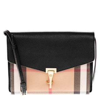 Burberry Small Black Leather and House Check Crossbody Bag