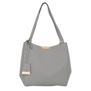 Burberry Small Grey Canter in Embossed Check Leather