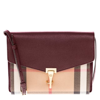 Burberry Small Mahogany Red Leather and House Check Crossbody Bag