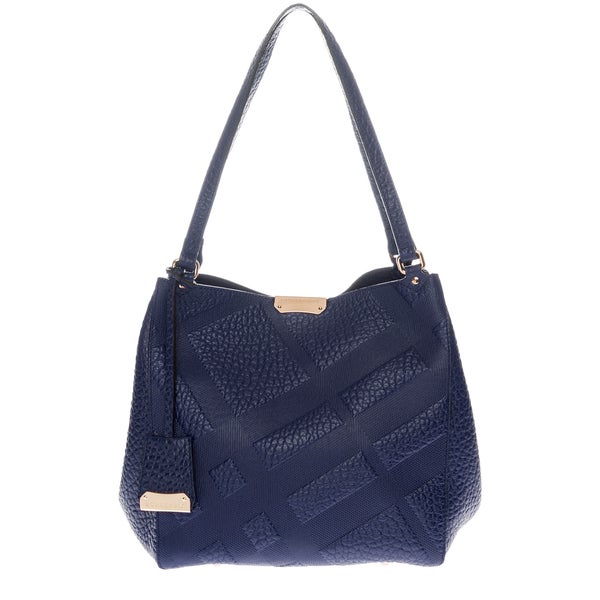 Burberry Small Navy Blue Canter in Embossed Check Leather
