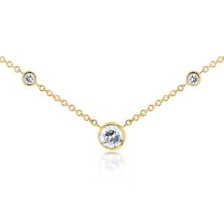 Annello 14k Yellow Gold 1/4ct TDW 3-Bezel Round Diamond Necklace (G-H, I1-I2)