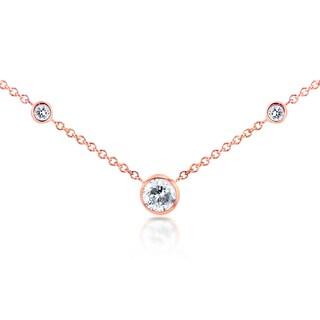 Annello 14k Rose Gold 1/4ct TDW 3-Bezel Round Diamond Necklace (G-H, I1-I2)