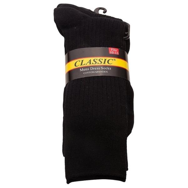 Classic Men's Soft Ribbed Cotton Crew Dress Socks (Pack of 3)