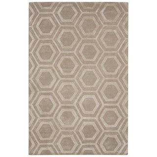 Contemporary Tribal Pattern Ivory/White Wool and Art Silk Area Rug (5' x 8')