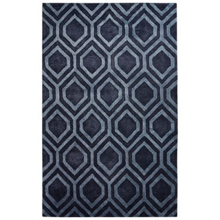 Contemporary Tribal Pattern Gray/Blue Wool and Art Silk Area Rug (5' x 8')