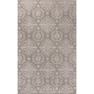 Classic Oriental Pattern Gray/Ivory Wool and Art Silk Area Rug (5' x 8')