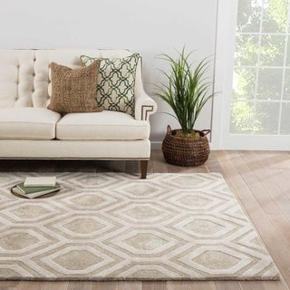 Contemporary Tribal Pattern Taupe/Ivory Wool and Art Silk Area Rug (5' x 8')