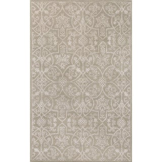 Classic Oriental Pattern Taupe/Ivory Wool and Art Silk Area Rug (5' x 8')