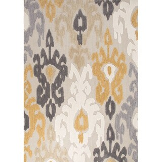 Contemporary Damask Pattern Yellow/Dark Gray Polyester Area Rug (5' x 7'6)