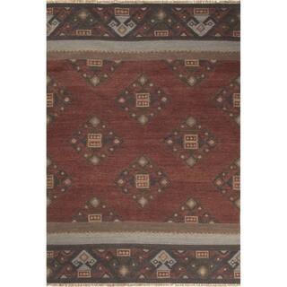 Flatweave Tribal Pattern Red/Multi Wool Area Rug (5' x 8')