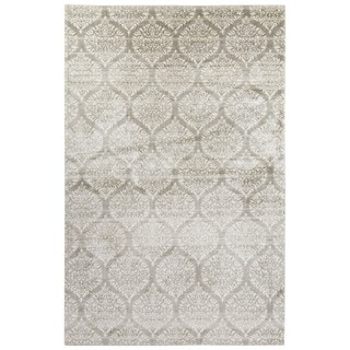 Contemporary Damask Pattern Ivory/Gray Bamboo Silk Area Rug (4'10 x 7'6)
