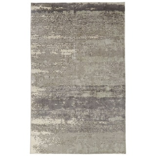 Contemporary Abstract Pattern Ivory/Gray Bamboo Silk Area Rug (4'10 x 7'6)