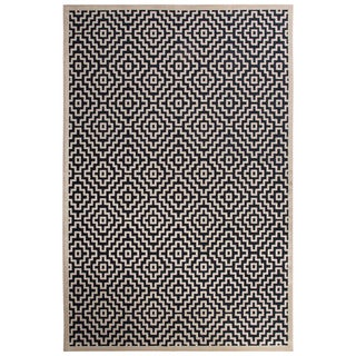 Contemporary Tribal Pattern Blue/Ivory Rayon Chenille Area Rug (5' x 7'6)