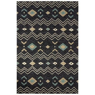 Indoor/Outdoor Tribal Pattern Black/White Polyester Area Rug (5' x 7'6)