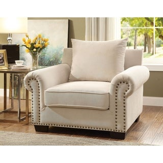 Furniture of America Casana Transitional Ivory Upholstered Club Chair