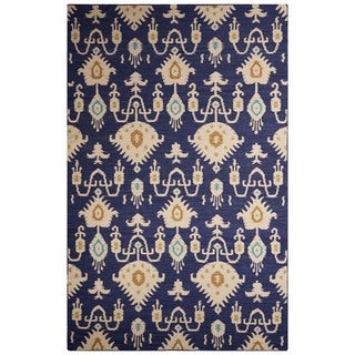 Flatweave Tribal Pattern Blue/Ivory Wool Area Rug (5' x 8')