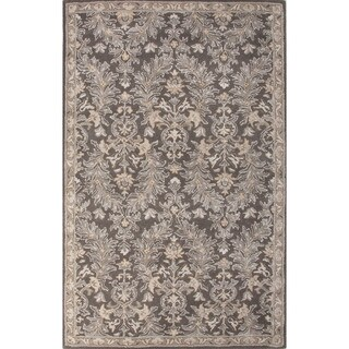 Classic Oriental Pattern Brown/Ivory Wool and Art Silk Area Rug (5' x 8')