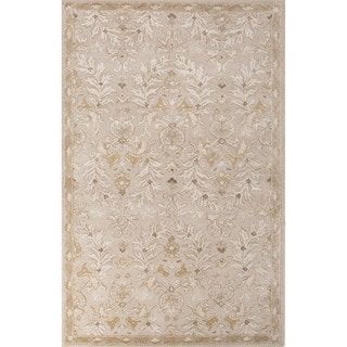 Classic Oriental Pattern Ivory/Yellow Wool and Art Silk Area Rug (5' x 8')