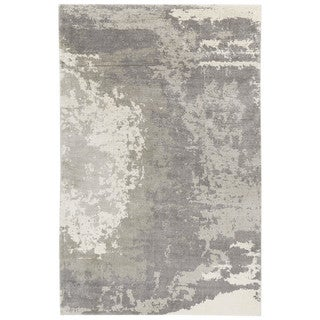 Contemporary Abstract Pattern Gray/Ivory Bamboo Silk Area Rug (4'10 x 7'6)
