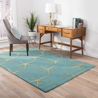 Contemporary Tribal Pattern Blue/Yellow Wool and Art Silk Area Rug (5' x 8')