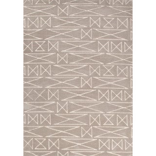 Contemporary Tribal Pattern Natural/Ivory Polyester Area Rug (5' x 7'6)