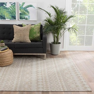 Flatweave Tribal Pattern Gray/Tan Wool Area Rug (5' x 8')