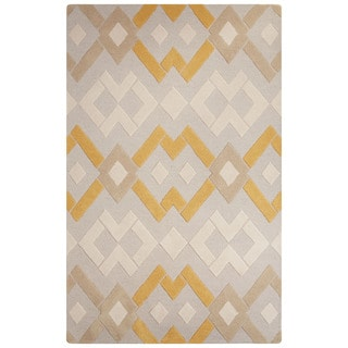 Contemporary Tribal Pattern Gray/Ivory Wool Area Rug (5' x 8')