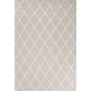 Contemporary Tribal Pattern Natural/Ivory Wool and Art Silk Area Rug (5' x 8')