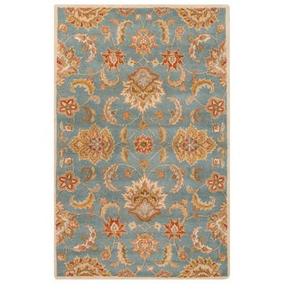 Classic Oriental Pattern Blue/Yellow Wool Area Rug (5' x 8')
