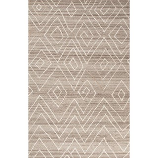 Contemporary Tribal Pattern Ivory/Natural Wool Area Rug (9' x 12')