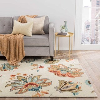 Contemporary Floral & Leaves Pattern Ivory/Orange Polyester Area Rug (9' x 12')