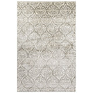 Contemporary Damask Pattern Ivory/Gray Bamboo Silk Area Rug (7'6 x 9'10)