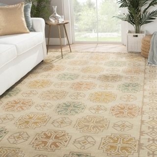 Contemporary Tribal Pattern Beige/Yellow Wool Area Rug (5' x 8')