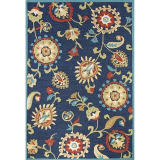 Contemporary Floral & Leaves Pattern Blue/Yellow Polyester Area Rug (9' x 12')