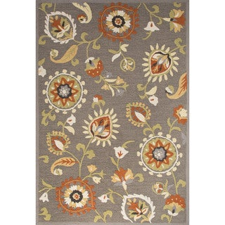 Contemporary Floral & Leaves Pattern Gray/Orange Polyester Area Rug (9' x 12')