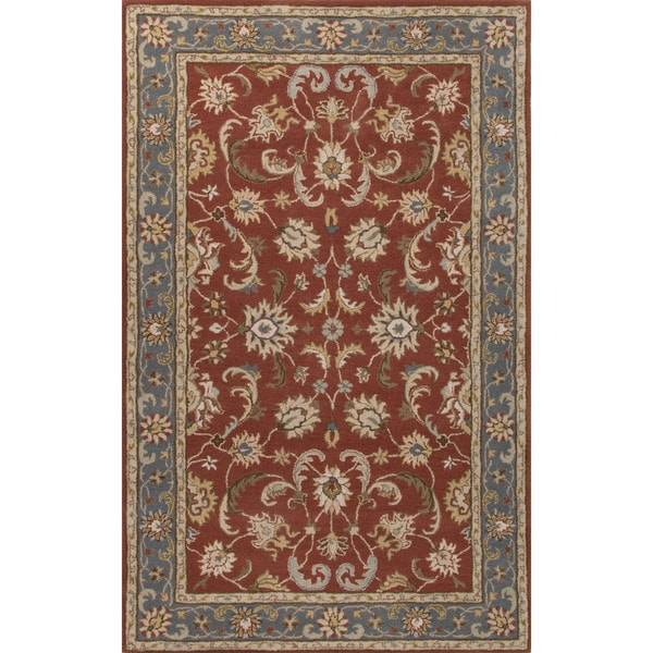 Classic Oriental Pattern Red/Blue Wool Area Rug (5' x 8') 17147478