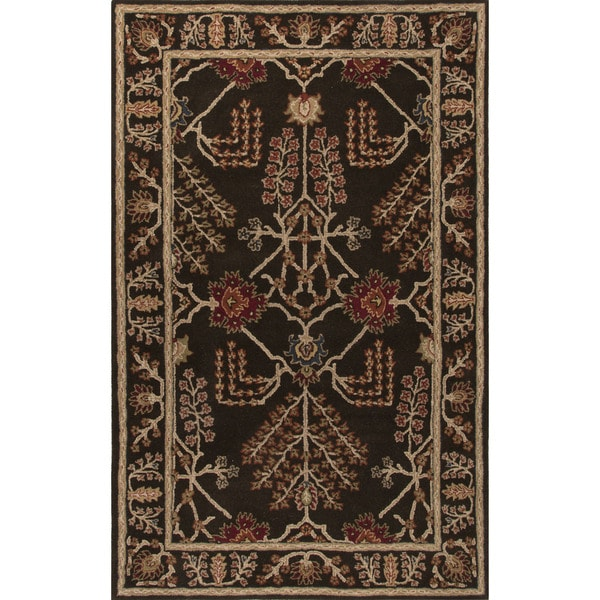 Classic Oriental Pattern Dark Gray Wool Area Rug (5' x 8')