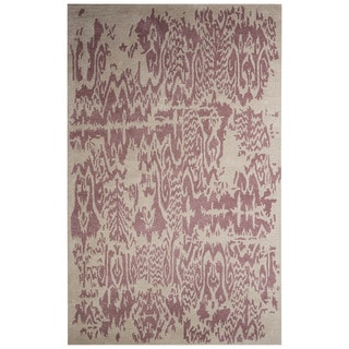 Contemporary Abstract Pattern Ivory/Purple Wool and Art Silk Area Rug (9' x 12')