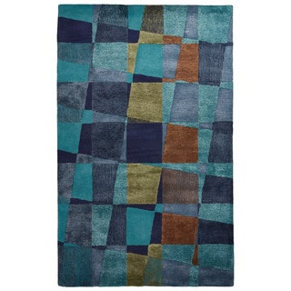 Contemporary Abstract Pattern Blue/Green Wool and Art Silk Area Rug (9' x 12')