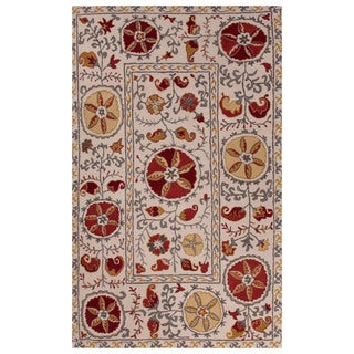Classic Tribal Pattern Ivory/Red Wool Area Rug (9' x 12')