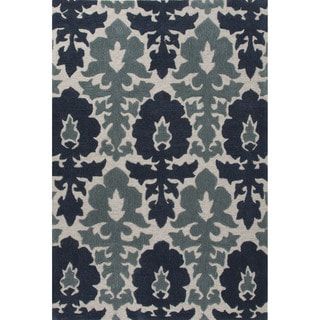 Contemporary Damask Pattern Blue/Gray Polyester Area Rug (9' x 12')
