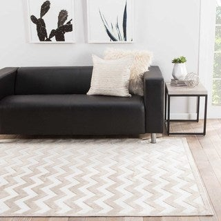Contemporary Chevrons Pattern Ivory/Beige Rayon Chenille Area Rug (9' x 12')
