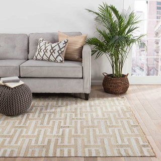 Flatweave Trellis, Chain And Tile Pattern Ivory/White Wool and Art Silk Area Rug (9' x 12')