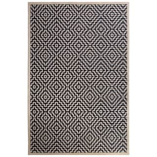 Contemporary Tribal Pattern Blue/Ivory Rayon Chenille Area Rug (9' x 12')