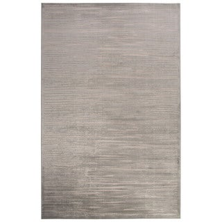 Contemporary Abstract Pattern Ivory/Blue Rayon Chenille Area Rug (9' x 12')