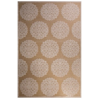 Contemporary Medallion Pattern Ivory/Tan Rayon Chenille Area Rug (9' x 12')