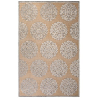 Contemporary Medallion Pattern Ivory/Gray Rayon Chenille Area Rug (9' x 12')