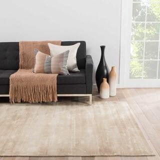 Luxury Solid Pattern Beige/Brown Art Silk Area Rug (9' x 12')