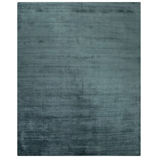 Luxury Solid Pattern Blue Art Silk Area Rug (9' x 12')