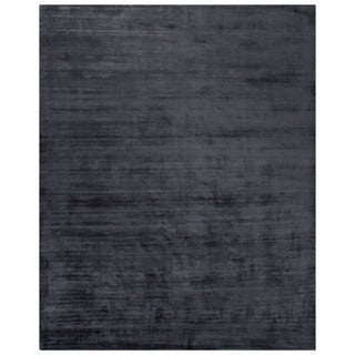 Luxury Solid Pattern Blue Art Silk Area Rug (9' x 12')